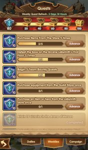 afk arena weekly quests