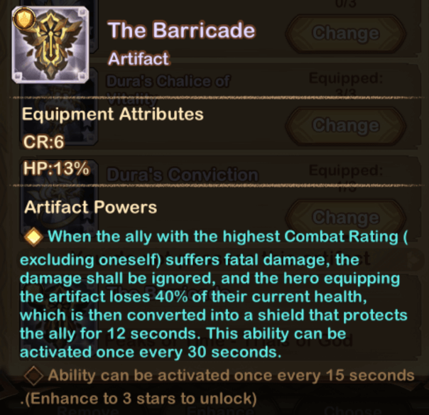 the barricade artifact afk arena