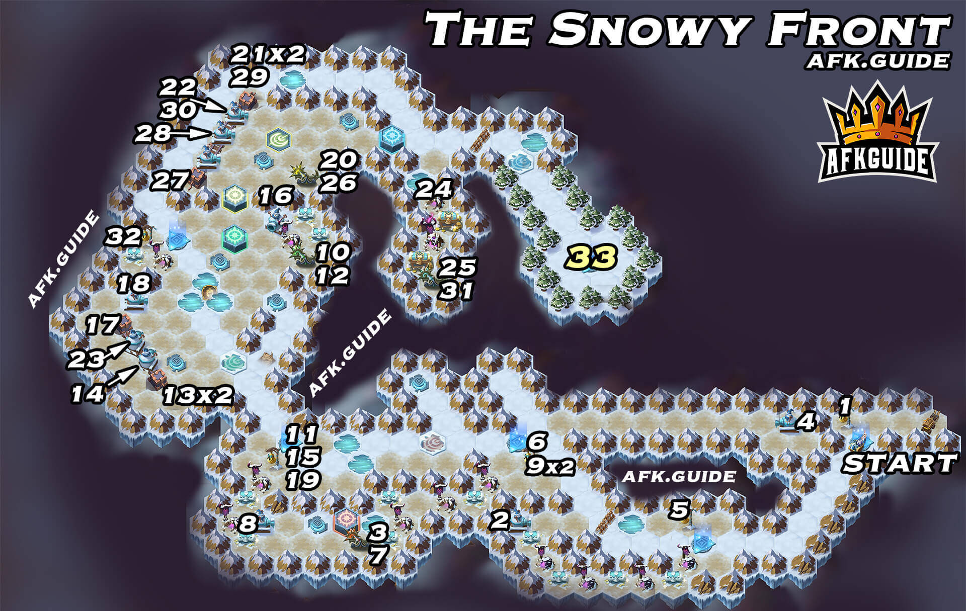 the snowy front map