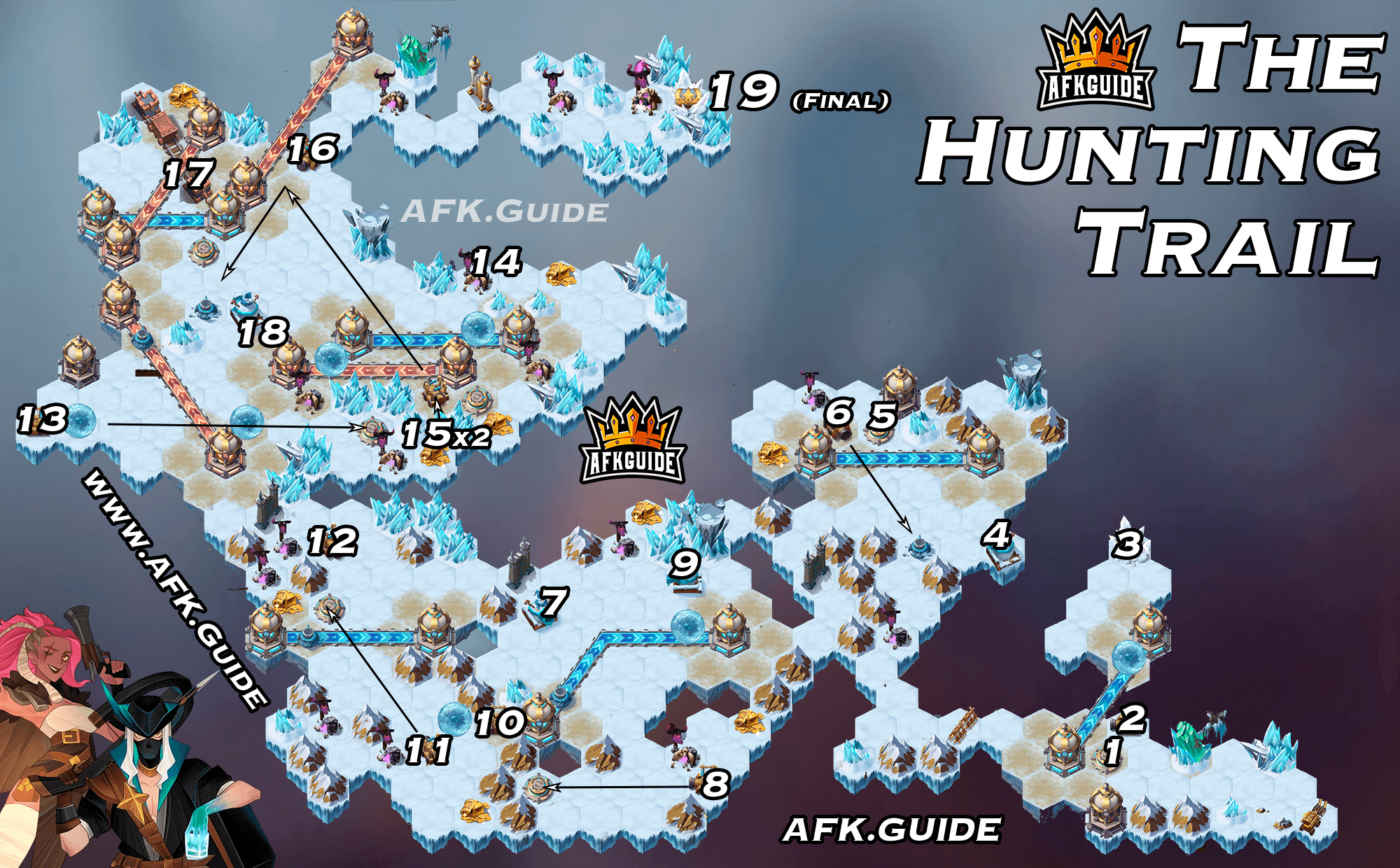 the hunting trail map guide afk arena